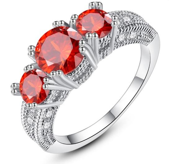 Fashion SS Engagement Party Collection Silver Blue Red & Rose Gold Real Three Stone Style Rings for Girls & Women - HS-WL-R46