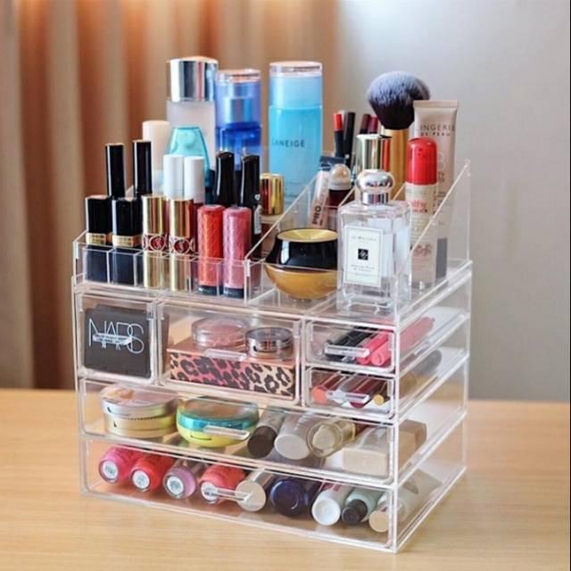 Acrylic 3 Drawers 12 Trapezoid Lipstick Makeup Display Stand Cosmetic Organizer Holder Case jewellery Box Storage