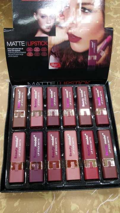 Beauty model Matte Lipstick Tray Set Of 12