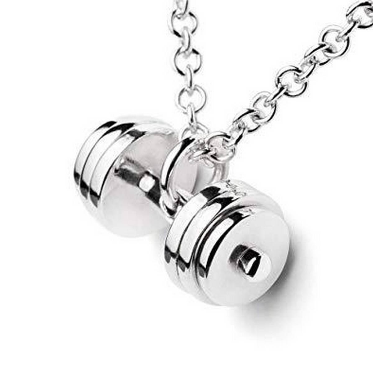 Dumbel Neckalce for Men - Silver