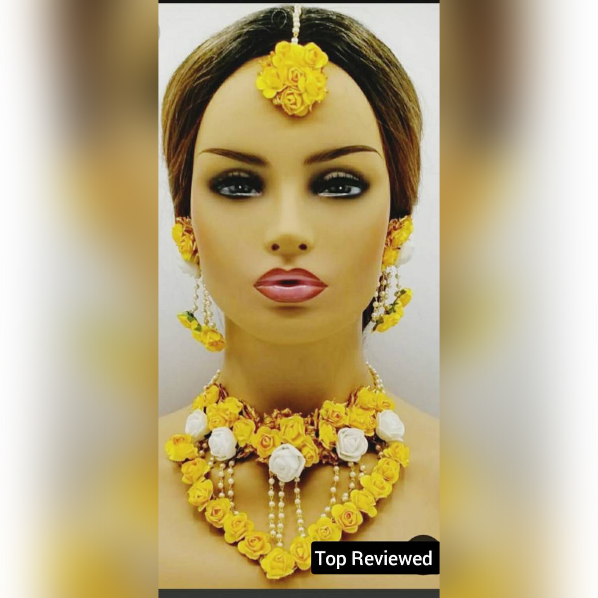 Bridal Mayon Floral Jewellery Set with Necklace, Earrings,  Mangtika, Artificial flower jewellery for mehndi