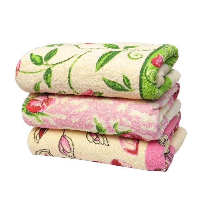 Pack of 3 Flower Printed Bath Towels (24 x 48)