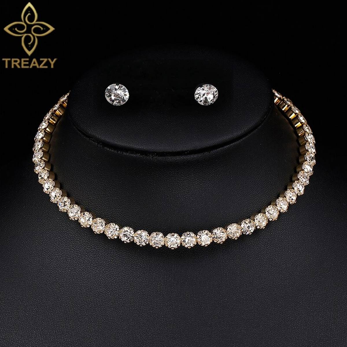 1 Layer Silver Color Circle Crystal Bridal Jewelry Sets Shinning Rhinestone Necklace Earrings Set Women for Wedding Accessories