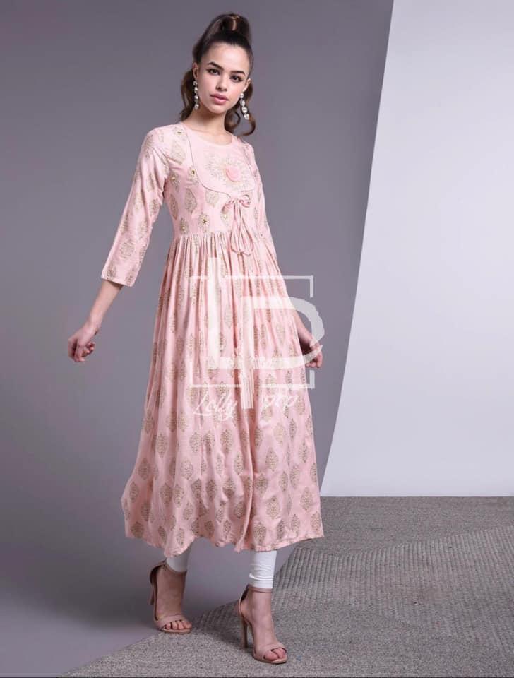 Retronic Wear Long Pink Long Kurti Embroidery For Women