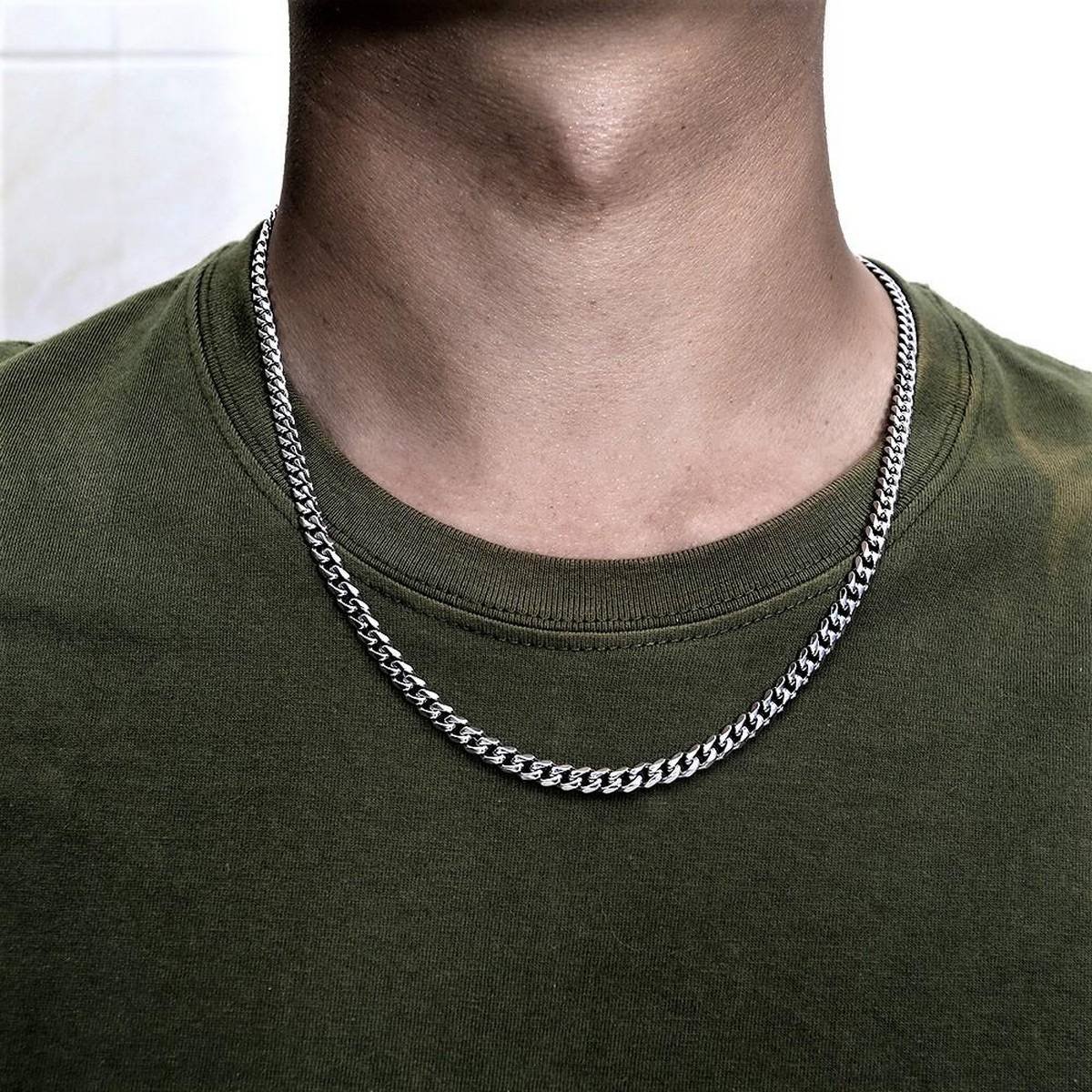 Silver Stainless Steel Thin Cuban Chain for Men/Boys Neck - High Quality Jewelry for Men