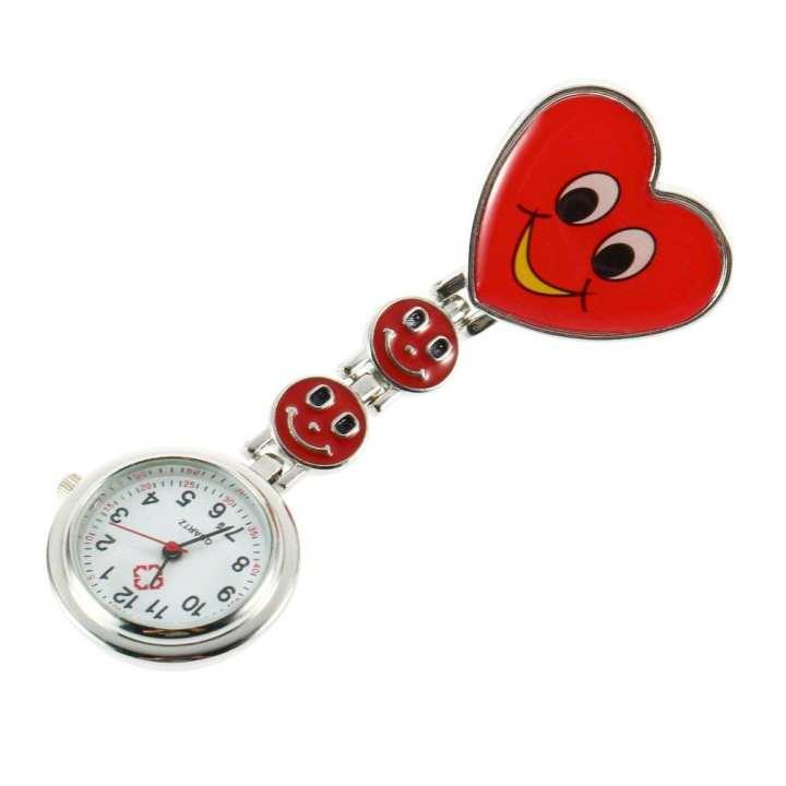 Heart Shape Cute Smile Face Nurse Quartz Clip-on Fob Pocket Watch Pin Brooch
