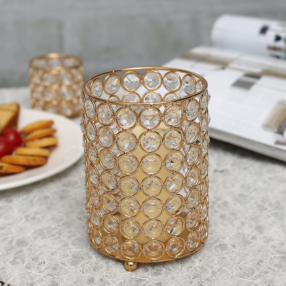 NS Collection-Candle Jar Restaurant Christmas Luxury Empty Wedding Metal Crystal Gold Decorating Container Holder Candle Jar For Home DecS