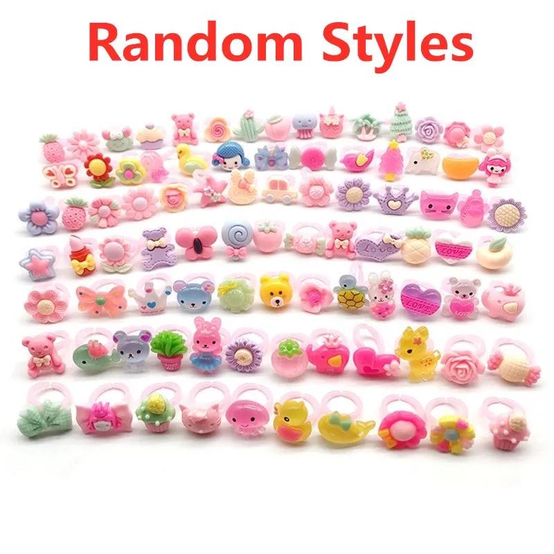 10 pcs Children's Cartoon Rings Candy Flower Animal Bow Shape Ring Set Mix Finger Jewellery Rings Kid Girls Toyscs