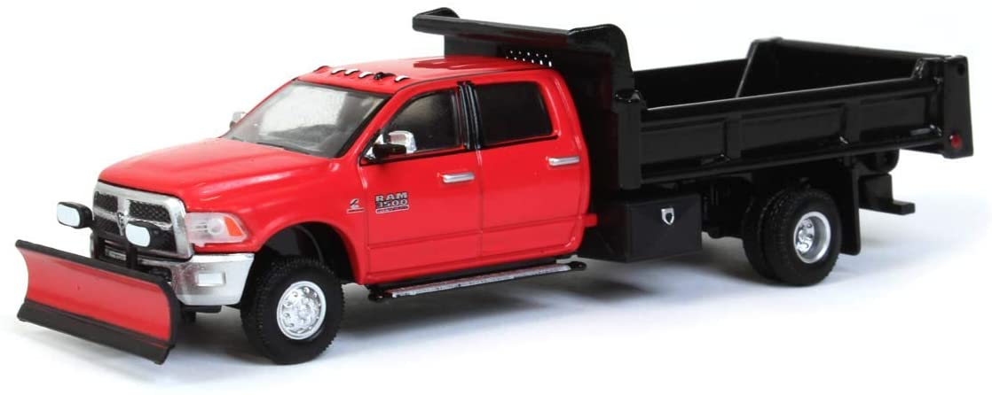 Greenlight 1/64 2018 Ram 3500 Dually, Red w/ Black Dump Bed & Plow, Outback Toys Exclusive 51295-A Diecast Model