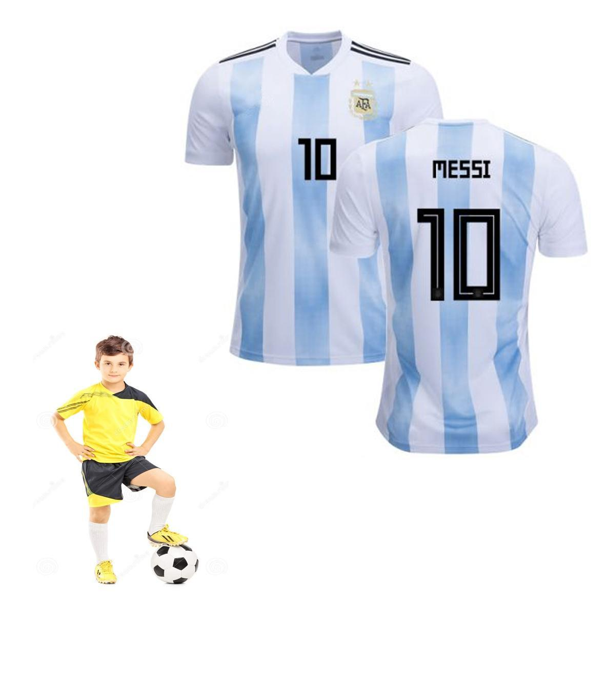 the best attitude baa67 a9a51 Junior Argentina Kids Messi 10 Home Football Kit New