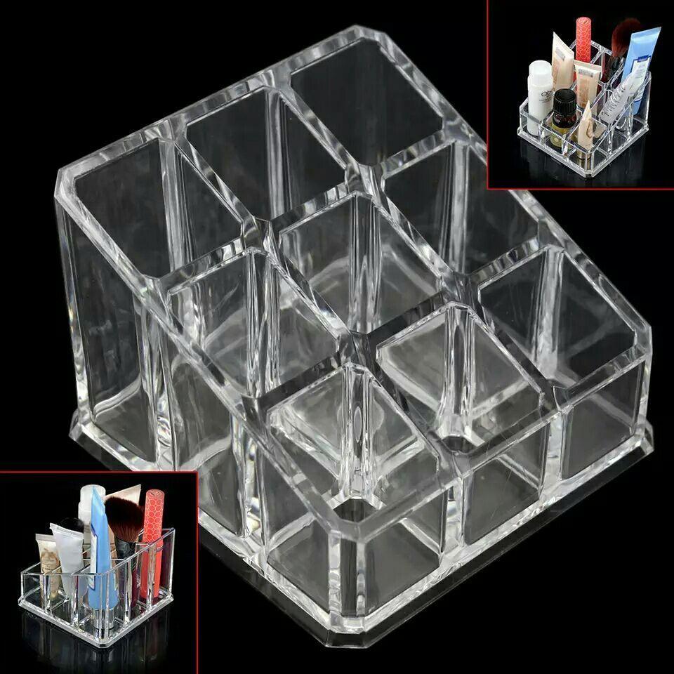 9 Grid Acrylic Makeup Organizer Storage Box Cosmetic Box Women Lipstick Jewelry Box Case Holder Display Stand Make Up Organizer. Best for Gift