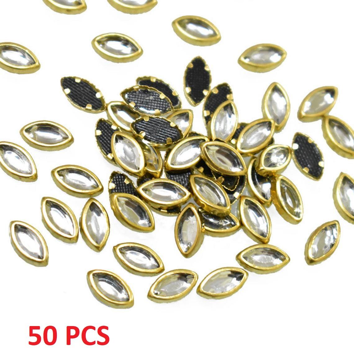 50/100/200 Pcs,  Real Kundan Beads DIY Sewing Jewelry Decoration, Leave Shape