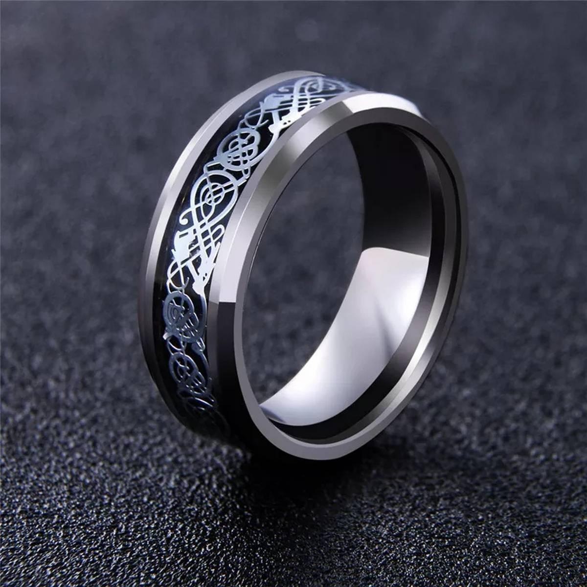 MeMolissa Jewelry New Punk ring for lover Vintage engagement Dragon steel Ring for Men & women Wedding rings