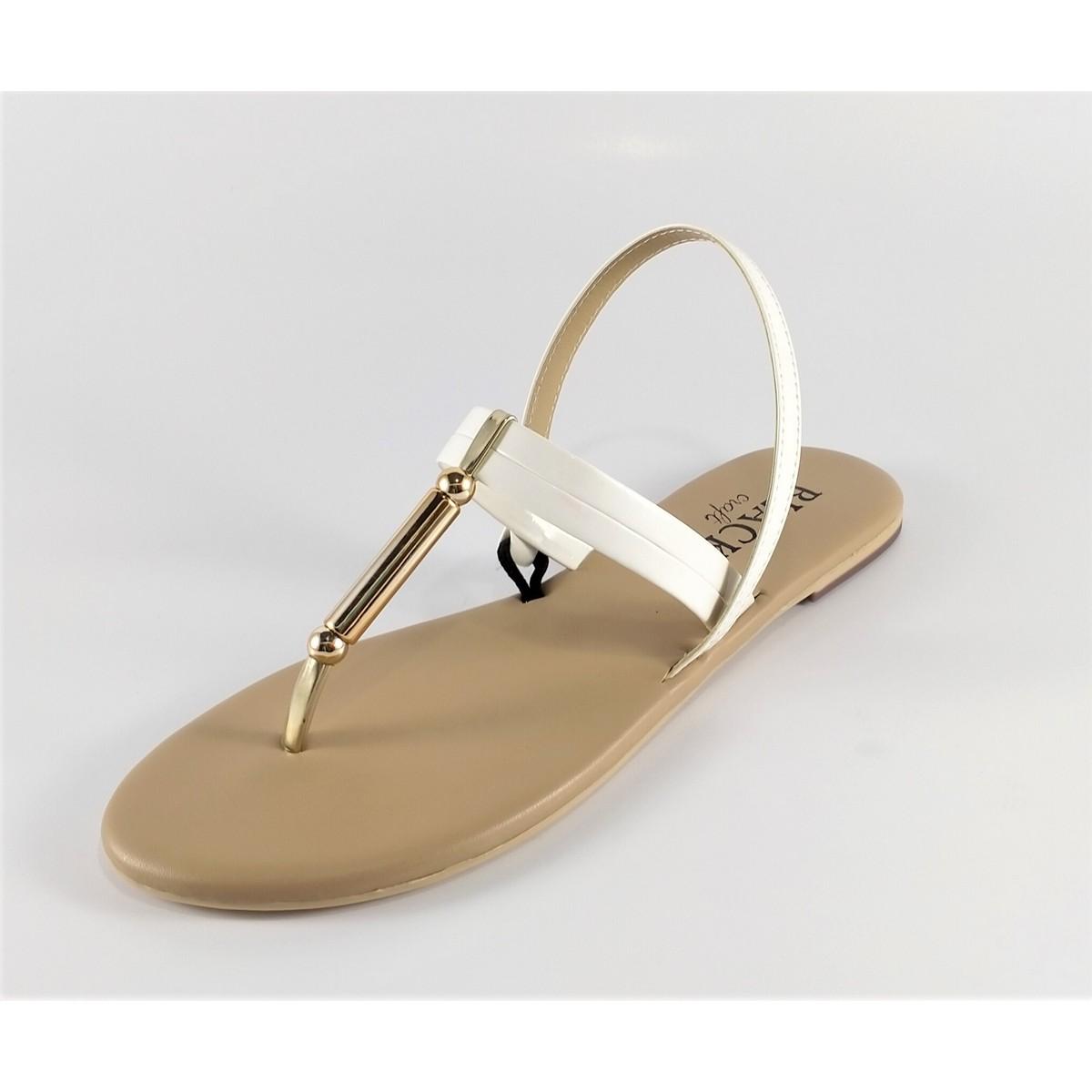 Flat Sandals - Women - T-Strap Sandal - Soft - Comfortable - White