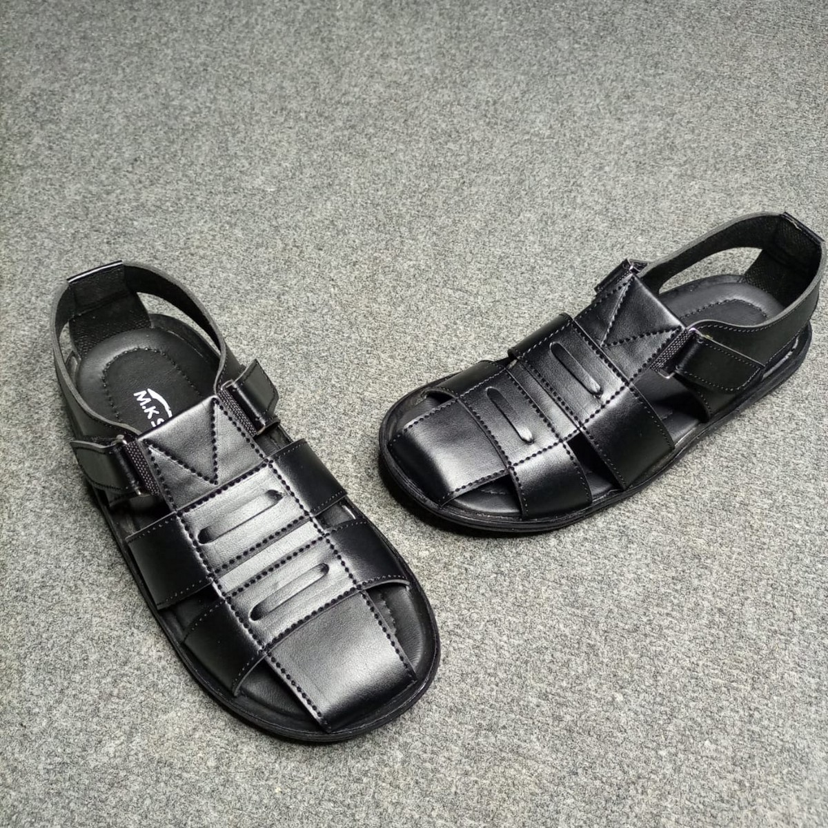 (MK) Black & Brown - Synthetic Material Sandals for Men