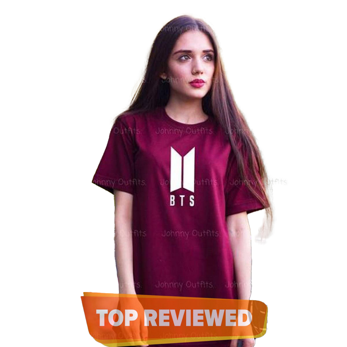 BTS Printed Women Maroon T shirt Casual Cotton  tshirts For Lady Funny Top Tee