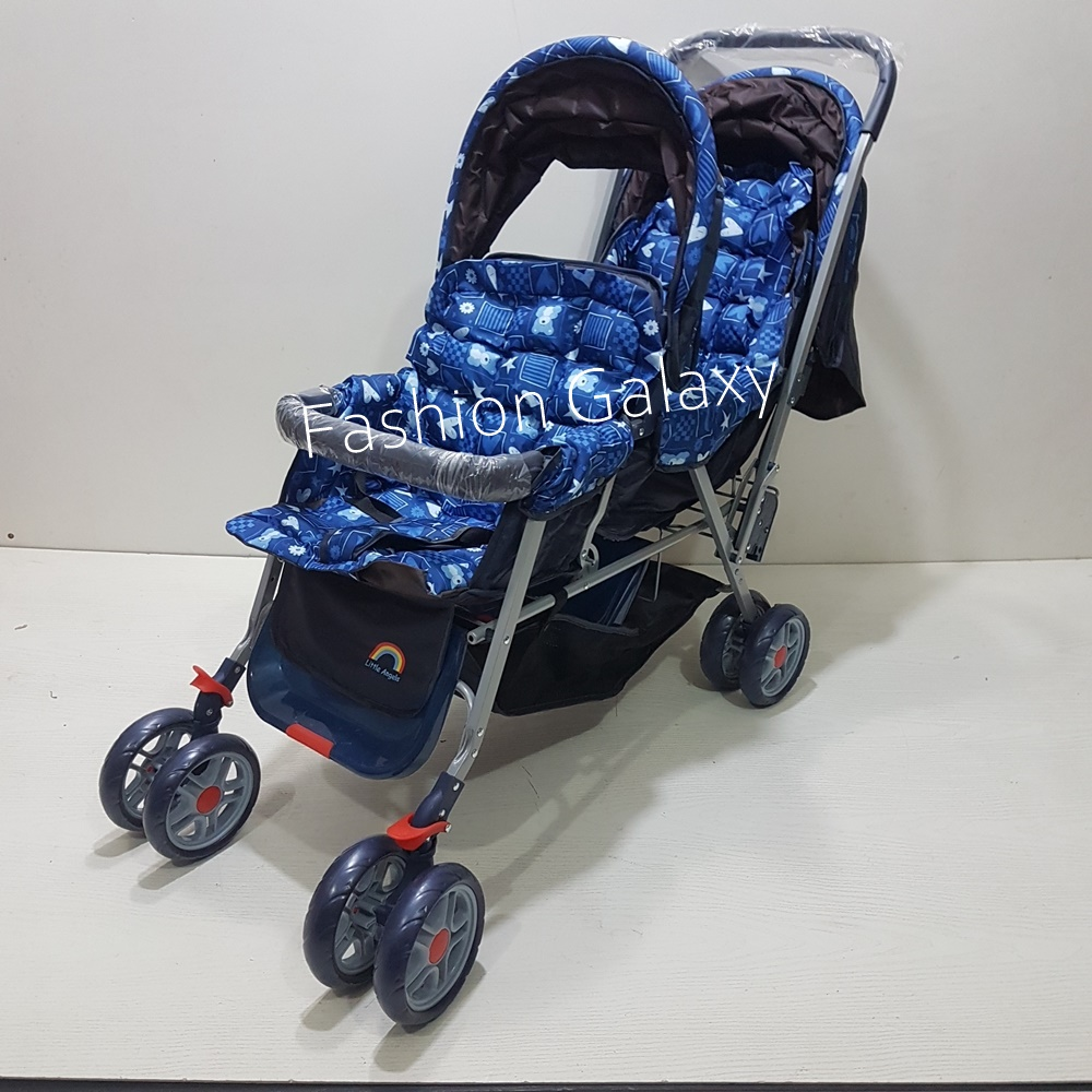 Imported Fold-Able  Pram/Stroller For Twins Babies In Metallic Material