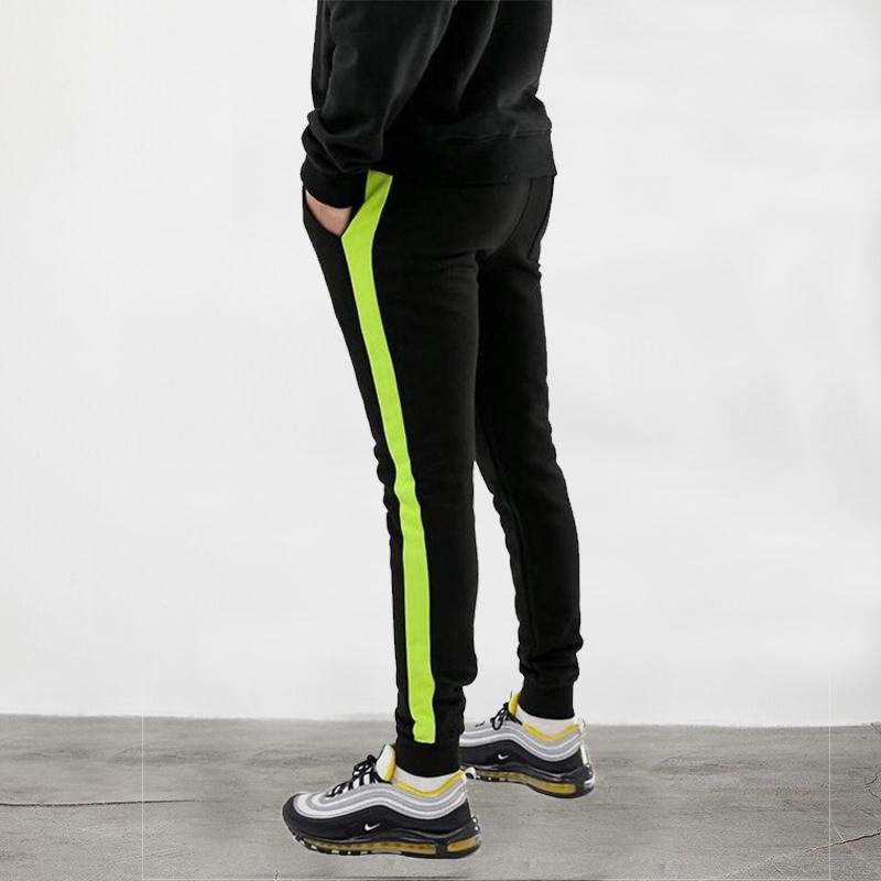 Trouser for Men with side stripe in Neon Green Jogging Pants  Sports Sweatpants Trouser for Men - Black