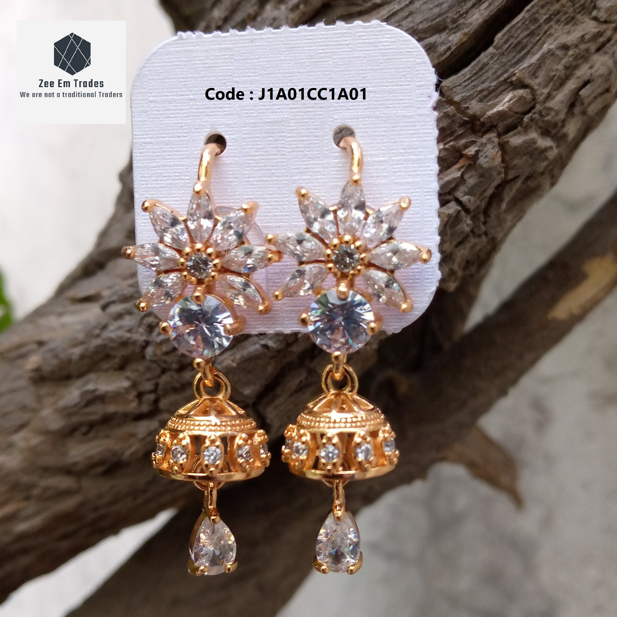 Women's and Girls Four Season Fashion Jewellery, Earrings Unique Classic Party Collection for Casual, Wedding, Party and Events, Golden Flower Shape Earring with White Crystal Colour Stones, High Quality Jhumki
