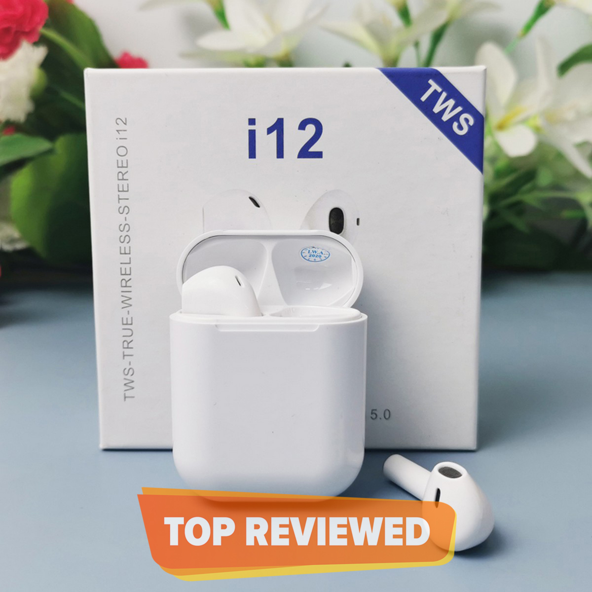 i12 tws Wireless Twins Bluetooth Ear Pods Original Universal Earbuds Headset.  Bluetooth V5.0 Earphone Touch Sensor True Stereo 10m Transmission Built in Mic Earbuds with Charging Case TWS Sport Headset for all Bluetooth devices-White