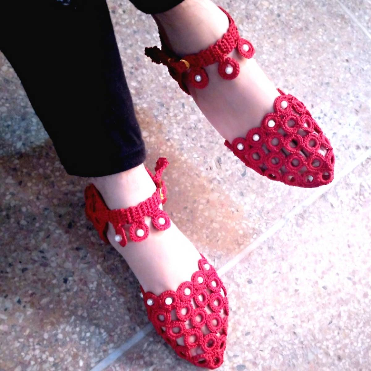Red Crochet Khusa Sandal With white Pearls