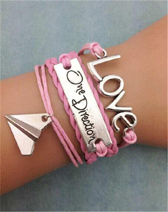 Love One Direction Pu Artificial Leather Fashion Bracelet Multi-Layer Charm Rexine Bracelets Jewellery Men women - WFJ64  WFJ-FB