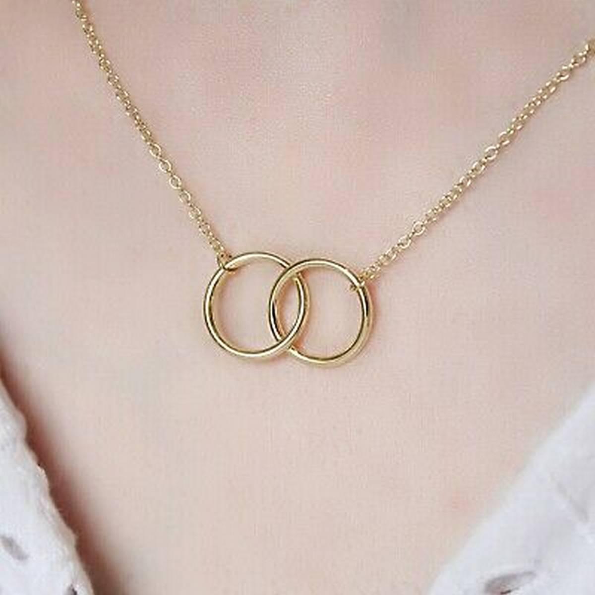 Golden/Silver Elegant Double Ring Necklace/Pendant/Chocker for Girls/Women