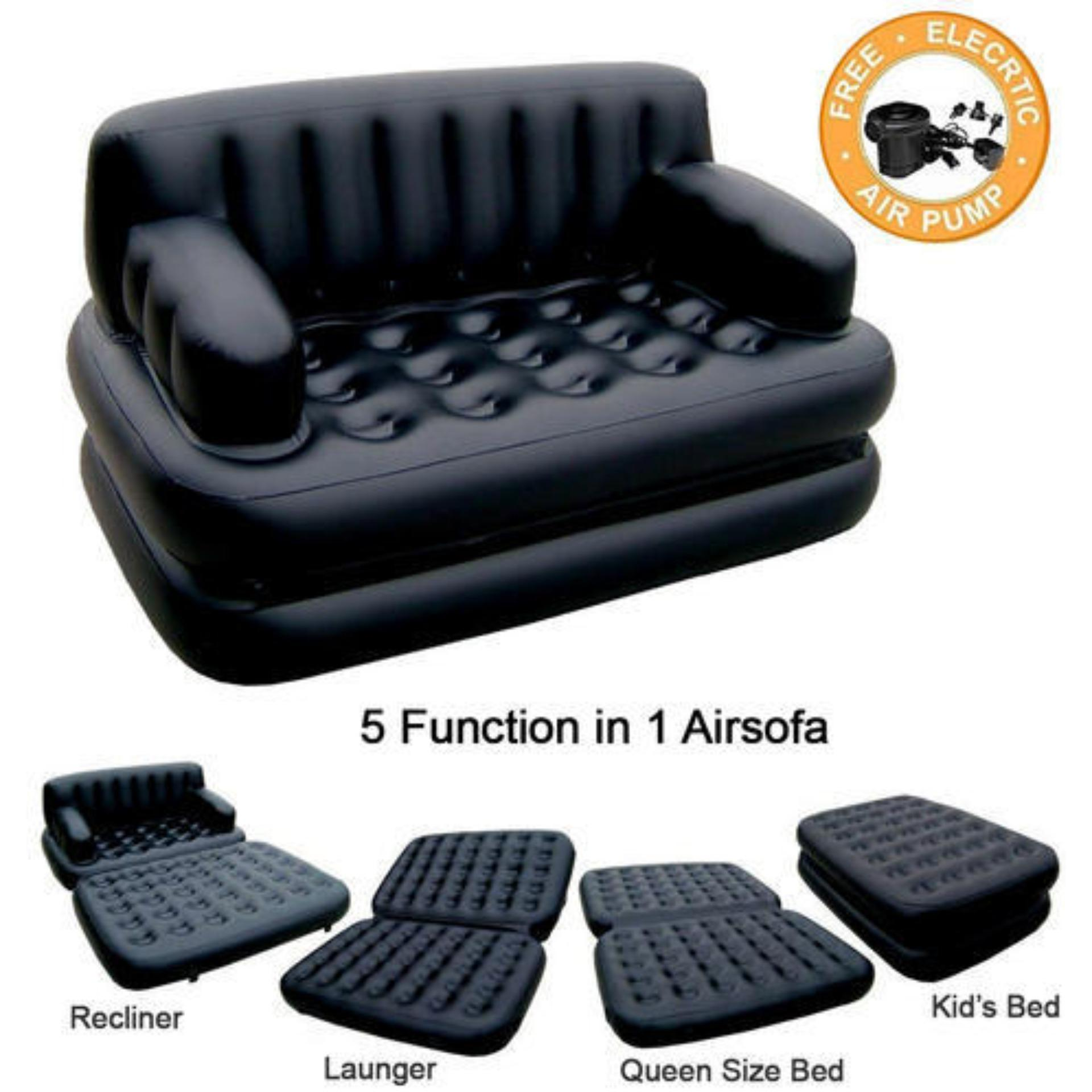 5 in 1 Air Sofa Bed with Pump Lounge Couch Mattress Inflatable (3 Seater)