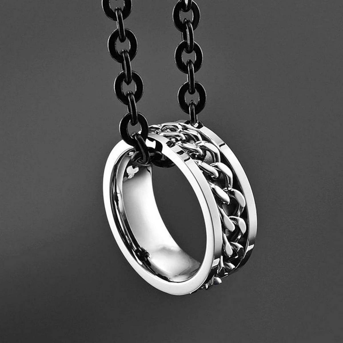 B H titanium stainless steel wedding rings for women accessories punk engagement couple silver male men chain finger ring female