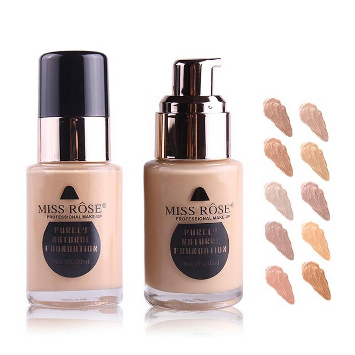 Miss Rose Purely Natural Liquid Foundation Base Makeup - 30ml ( 6 Shades Available )