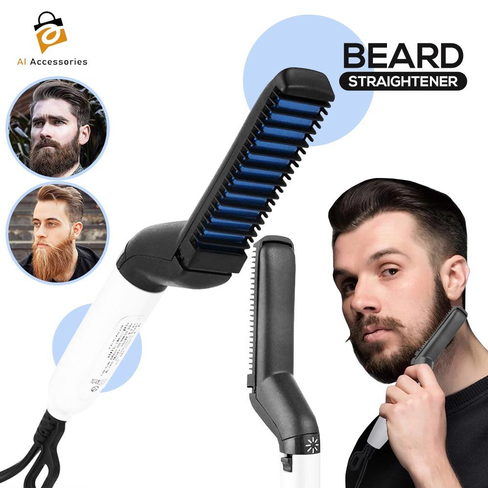 Electric Beard Straightener for Men Multifunctional Ionic Beard Straightening Hair Style Electric Hot Comb - Blue
