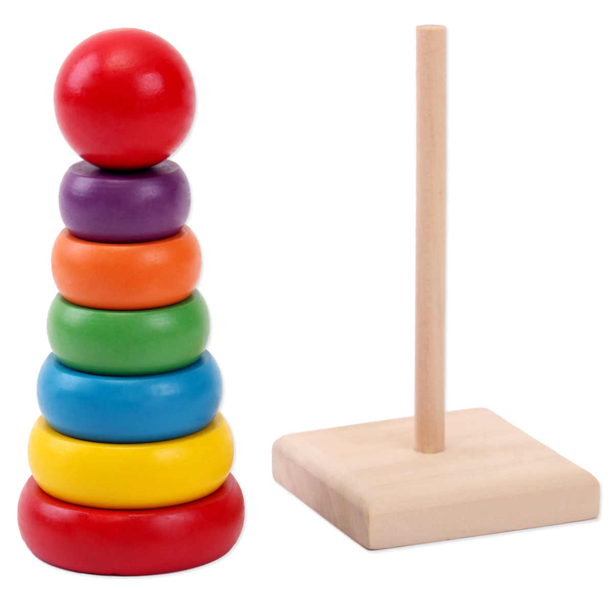 Children'S Rainbow Tower Set Circle Educational Toys Bright Color Shape Sorting Cube Wooden Shape Sorter Educational Toys