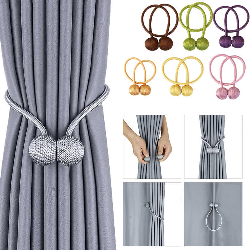 (Pack Of 2) High Quality Magnetic Curtain Tieback Buckle Strap Holdbacks Magnet Clip For Curtain Rod Tie Backs Hanging Belts Rope Accessories