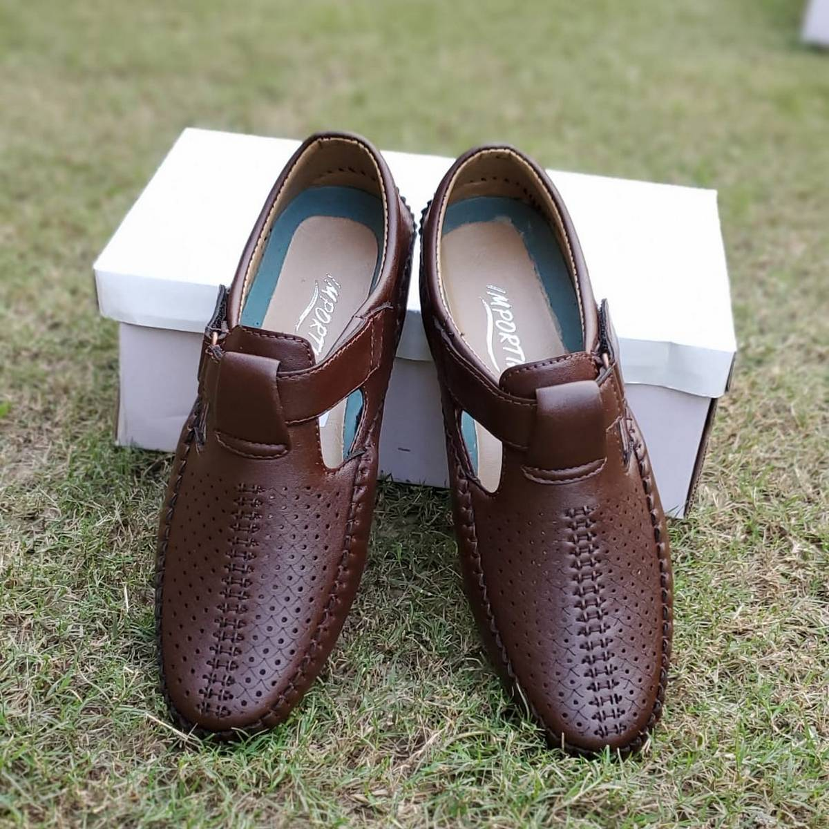 Brown Synthetic Leather Driving Sandals For Men By Importia