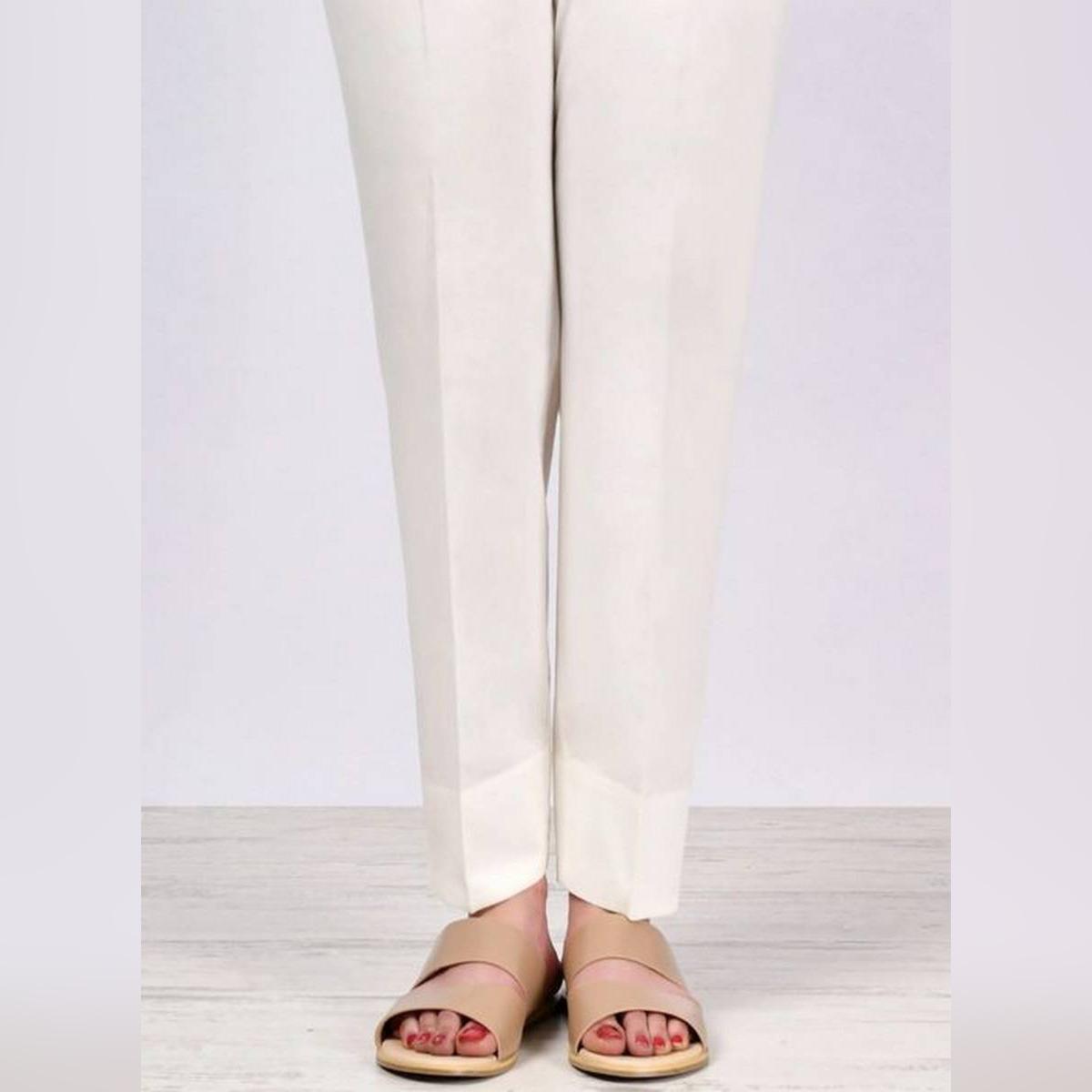 off white Plain Straight Trouser,Pants,Capri For Girls/Ladies imported Fabric