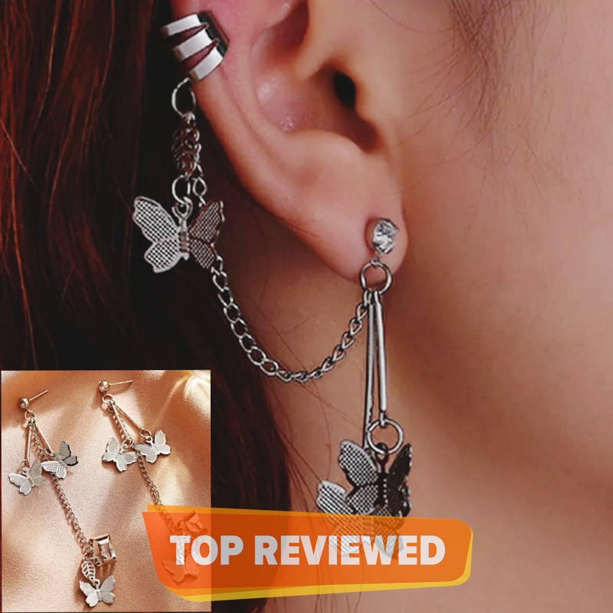 Pair Of Ear Cuff Butterfly Long Chain Pin Tassel Earrings For Girls & Women