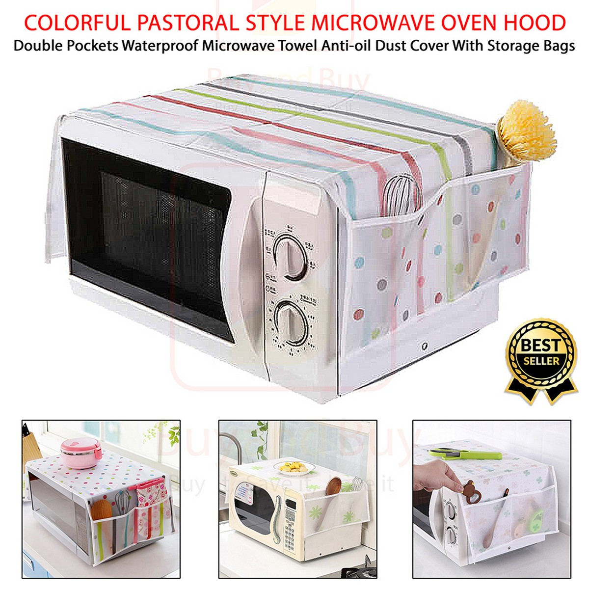 Colorful Pastoral Style Microwave Oven Hood Double Pockets Waterproof Microwave Towel Anti-oil Dust Cover With Storage Bags