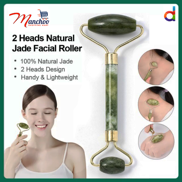 MANCHOO Natural Jade Roller Anti-Aging Massager Double Heads for Beauty Facial Skin Roller Massager Muscle Relaxing Relieve Wrinkles neck, face, back, shoulder, leg and foot.