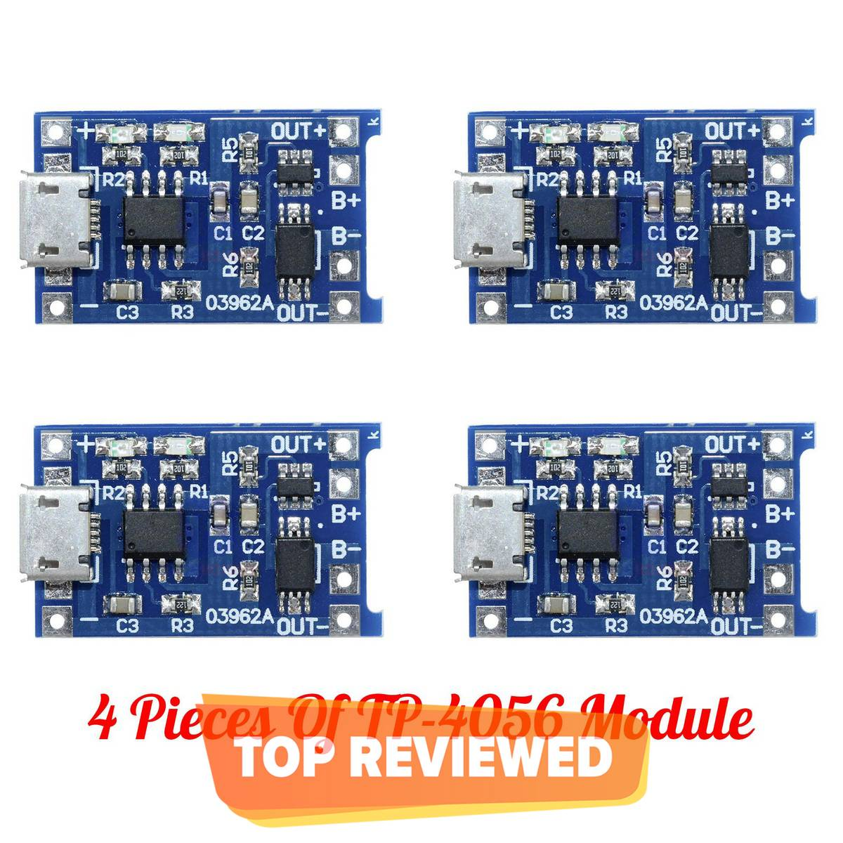 Pack Of 4 Pcs Of 18650 Micro USB 5V 1A Charging Module Tp4056 Lithium Ion Battery Charger Lithium Polymer Battery Charger Module Power Bank Circuit Board Power Bank Charging Module With Battery Protection