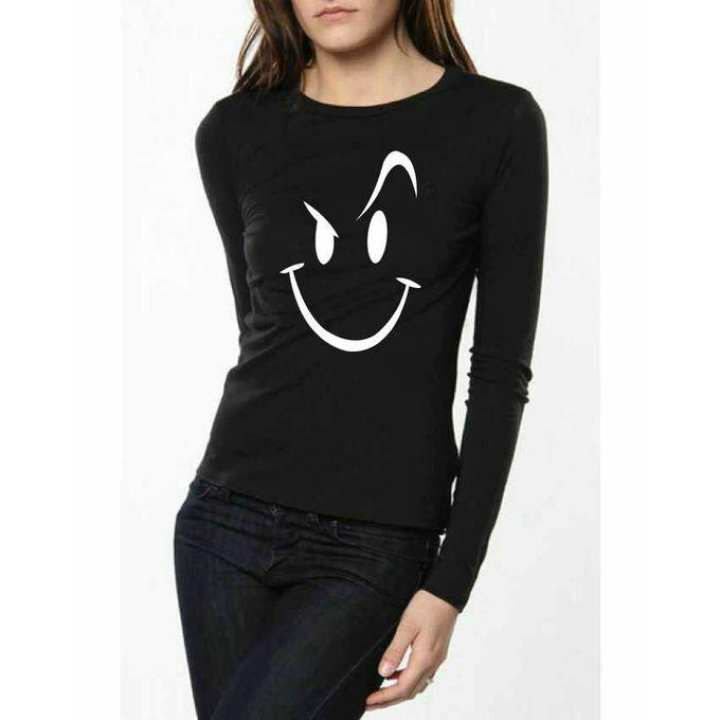 "Black ""Naughty face"" Full Sleeves Printed T shirt For Women by T-shirt & Tops"