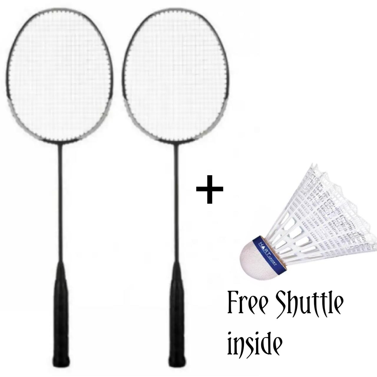 2 Badminton Rackets For adults with one feather Shuttles - Japanese