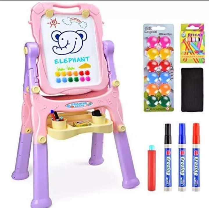 Easel Kids, 4 in 1 Multi functional Standing Art Easel Double Sided Quick Flip & Height Adjustable Magnetic Drawing Board Paper Clips