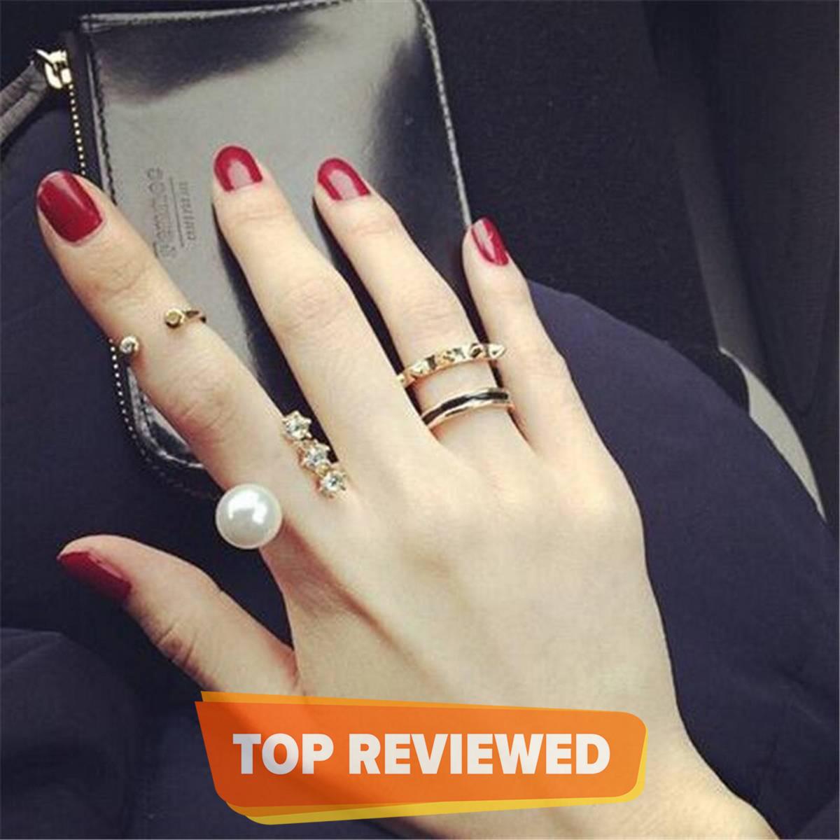 Fashion Jewellery 3Pcs Adjustable Pearl Rhinestone Korean Style Open Rings For Women