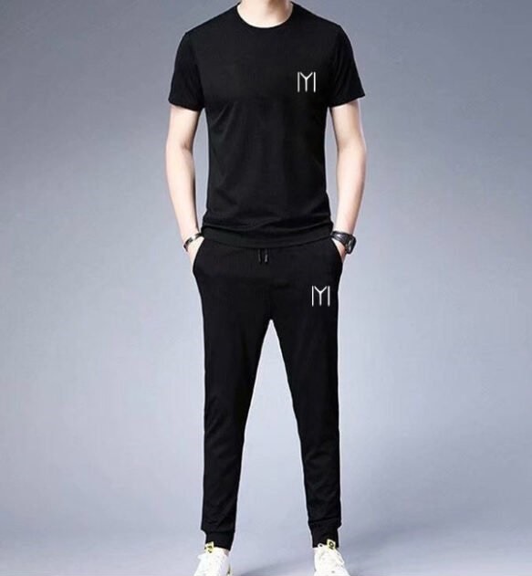 Black IYI Logo Track suit Printed Half Sleeves T shirt Casual Cotton Tees With Trouser  Export Quality T-shirts For Men