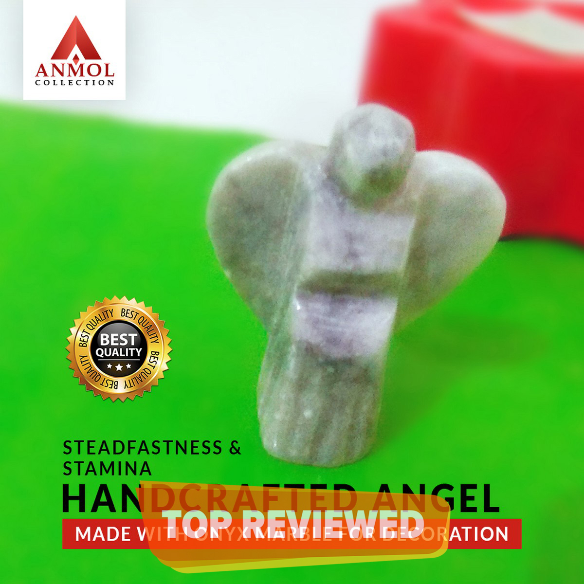 Steadfastness and Stamina Handcrafted Angel Made With Onyx Marble For Decoration