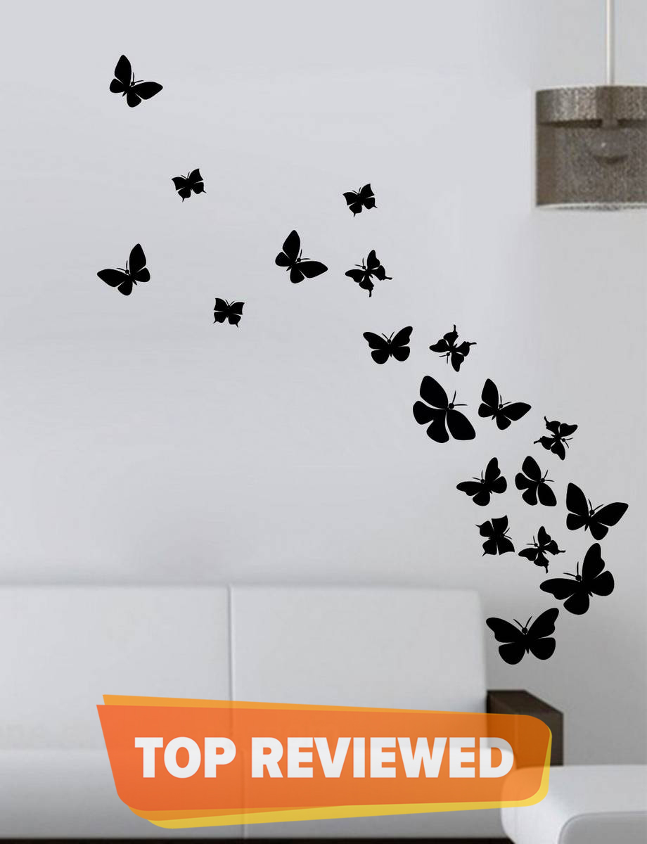 Pack of 50 BUTTERFLIES Stickers Pvc colour Wall Stickers for kids bedroom wall decoration butterfly