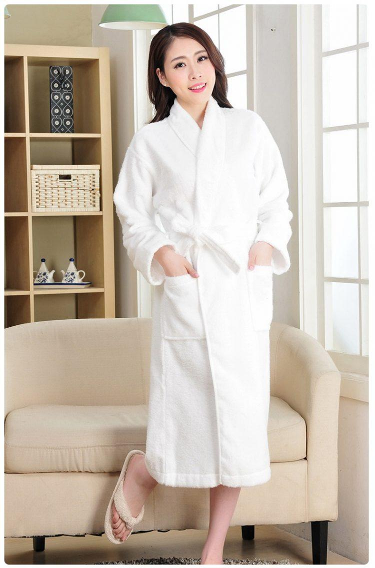 white Adults Hooded Bathrobe 100% Cotton Robe Mens Ladies Dressing Gown Towelling