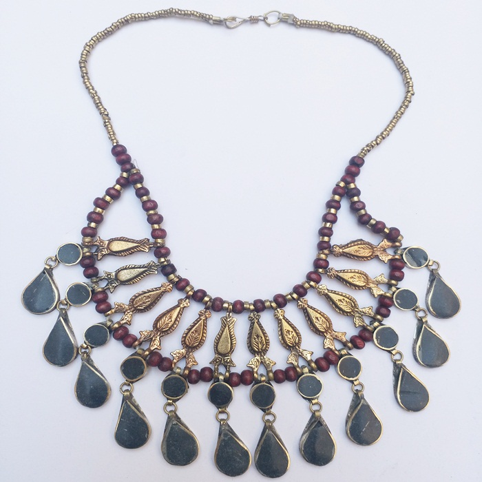 Traditional Bohemina Fish Tribal Necklace Decorated with metal spring and brown pearls-639