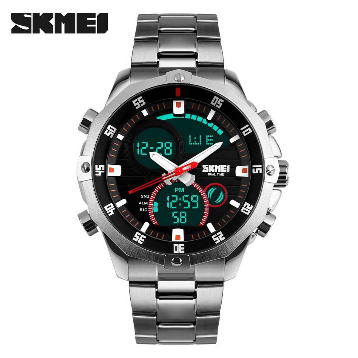 SKMEI 1146 Quartz Stainless Steel Waterproof Dual Display Watch For Men
