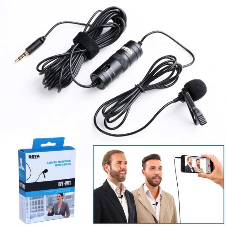 BOYA BY-M1DM Dualhead Lavalier Microphone BY-M1 Microfone Omnidirectional Clip-on Lapel Video Mic for iPhone Canon Nikon DSLR
